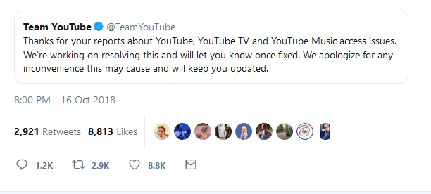 YouTube Outage 2018