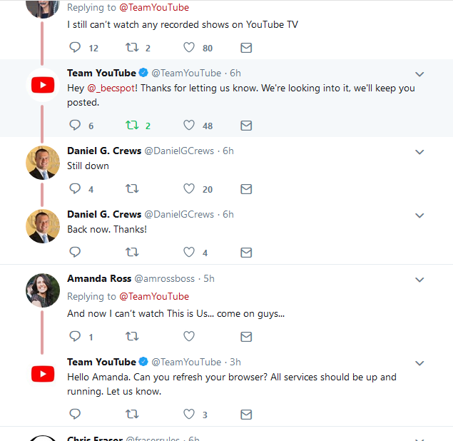YouTube Outage Tweets