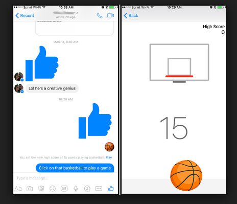 Facebook Messenger Secret Basketball Game