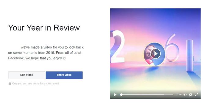 Facebook Year in Review Video